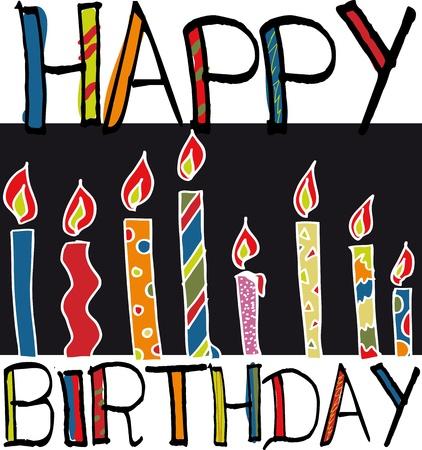 hundreds: happy birthday candles. vector illustration