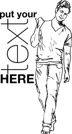 ふだん着: ハンサムな男性のファッションのスケッチ。ベクトル イラスト  イラスト・ベクター素材