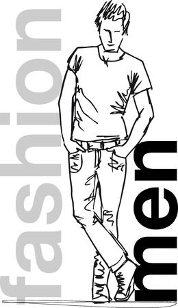 t shirt model: Sketch di moda uomo bello. Vector illustration Vettoriali