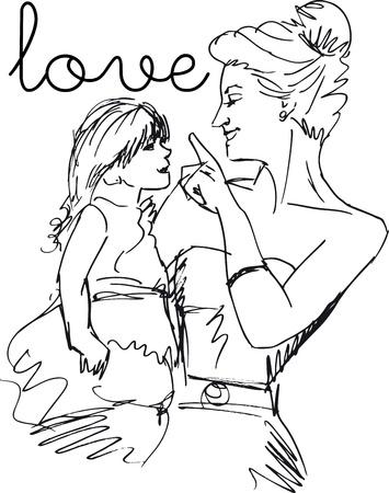 Schets van klein meisje met plezier met haar mooie moeder. Vector illustratie