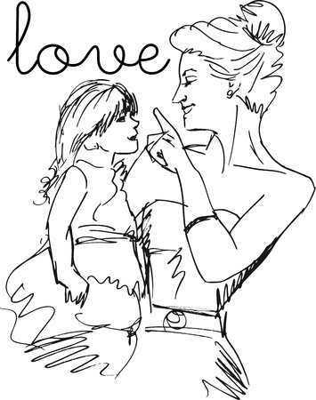 mom daughter: Sketch of little girl having fun with her beautiful mother. Vector illustration Illustration