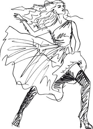 dessin au trait: Croquis d'une femme belle. Vector illustration Illustration