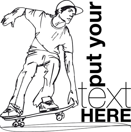 Sketch of Skateboard boy. Vector illustration  Vector