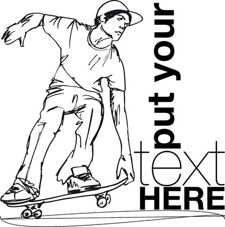 skater: Sketch of Skateboard boy. Vector illustration  Illustration