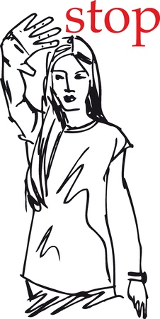 sketch of Woman showing his hand in signal of stop. vector illustration Stock Vector - 11779925
