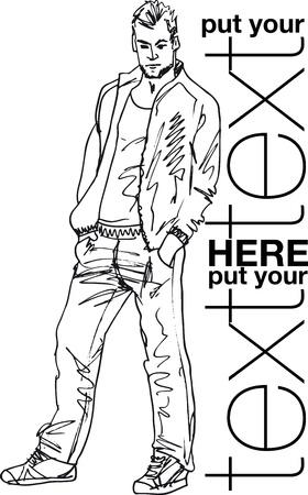 moda casual: Boceto del hombre de moda guapo. Ilustraci�n vectorial