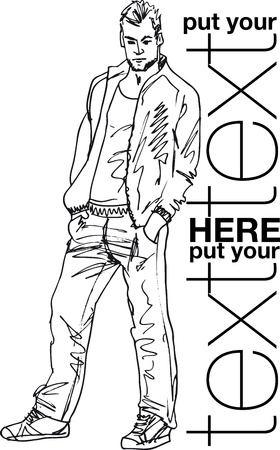 male fashion: Sketch of fashion handsome man. Vector illustration Illustration