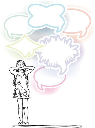 stress woman: sketch of girl covering ears from loud noise balloons. vector illustration