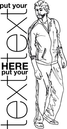 t shirt man: Sketch of fashion handsome man. Vector illustration Illustration