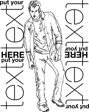 Sketch of fashion handsome man. Vector illustration Vector