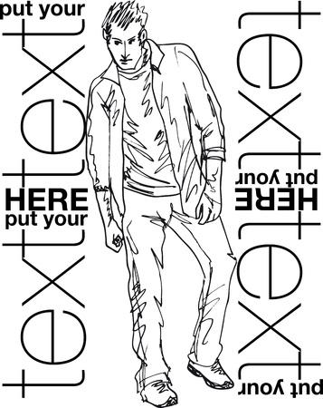 Sketch of fashion handsome man. Vector illustration Stock Vector - 11780153