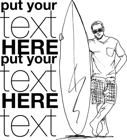 Sketch of man with surfboard. Vector illustration. Vector