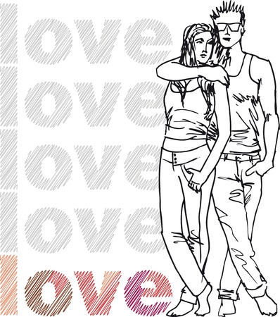 Sketch of couple. Vector illustration. Vector