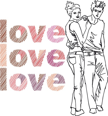 young man jeans: Sketch of couple. Vector illustration.