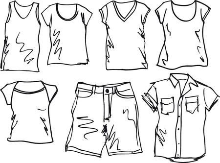 t shirt model: Abiti estivi collezione schizzo. Vector illustration Vettoriali