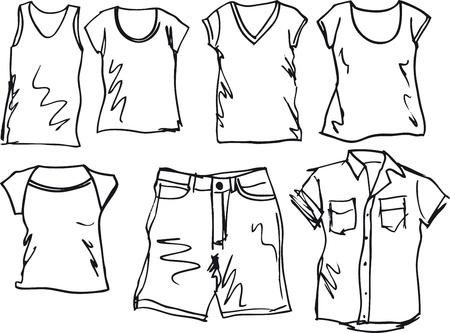 tee shirt: Summer clothing sketch collection. Vector illustration  Illustration