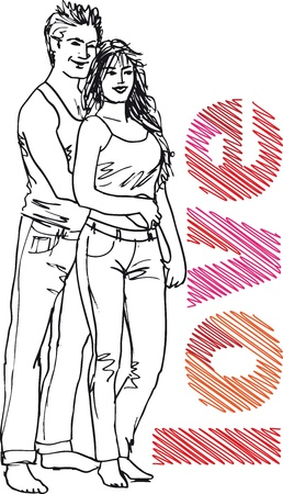 couple having fun: Sketch of couple. Vector illustration.