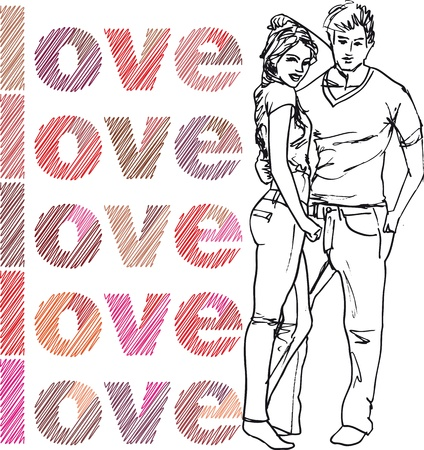 excite: Sketch of couple. Vector illustration.