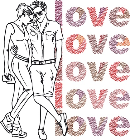teenagers having fun: Sketch of couple. Vector illustration.