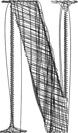 write abc: Mano de la cuerda de la fuente. Ilustraci�n vectorial Vectores