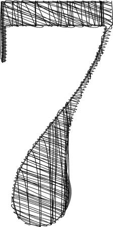 number seven: Hand draw font. Vector illustration