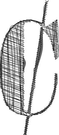 cent: Hand draw font. Vector illustration