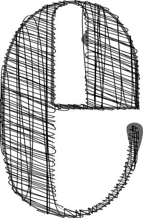 letter case: Hand draw font. Vector illustration