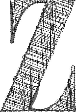 write abc: Lado de la fuente empate. Ilustraci�n vectorial