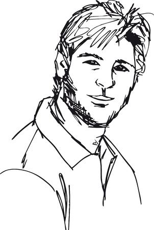 avatars: Sketch di moda uomo bello. Vector illustration Vettoriali