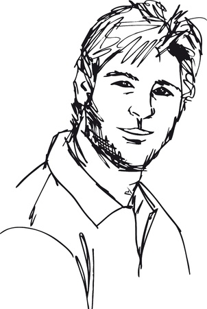 manly man: Sketch of fashion handsome man. Vector illustration Illustration