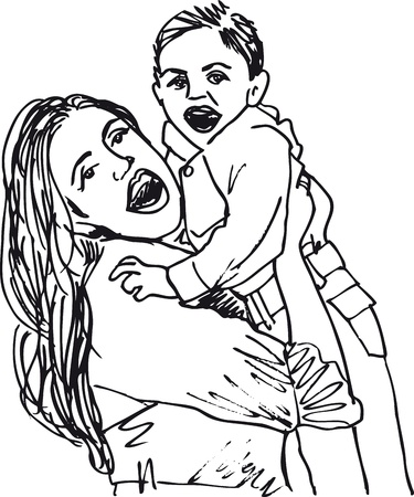 mother holding baby: Sketch of mom & son. Vector illustration.