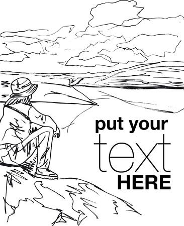 Schets van jonge vrouw zit op de rand van klif en op zoek naar een hemel met wolken. Vector illustratie.
