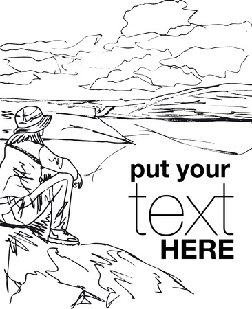 trekking: Sketch of young woman sitting on cliffs edge and looking to a sky with clouds. Vector illustration.