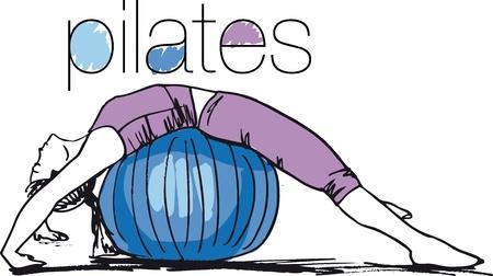 pilate: Croquis d'une femme faisant Pilates. Vector illustration. Illustration