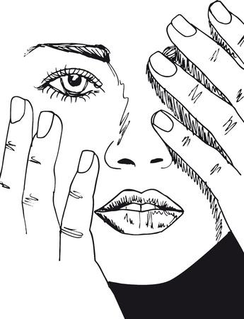 contour: Sketch of beautiful woman face. Vector illustration. Illustration