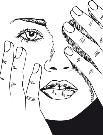 frau nach oben schauen: Skizze der sch�nen Frau ins Gesicht. Vektor-Illustration.