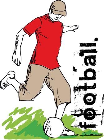 Soccer Player Kicking Ball. Vector illustration.