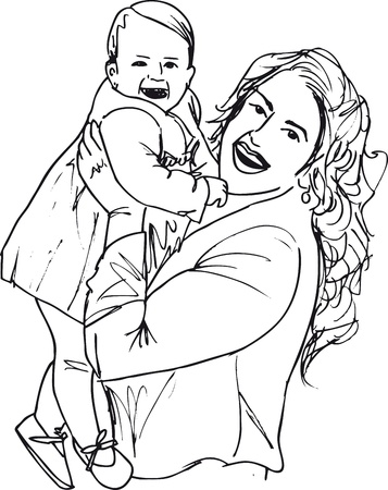 joyful: Sketch of mom and child. Vector illustration.