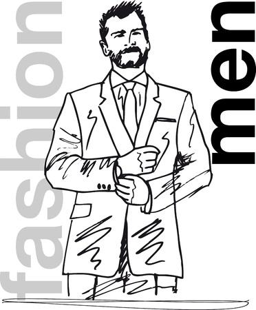 Sketch of handsome man. Vector illustration. Stock Vector - 11857707