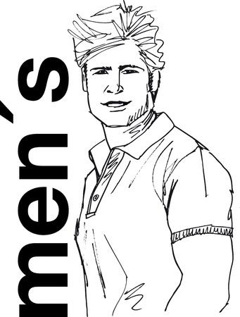 Boceto de la cara de hombre guapo. Ilustración vectorial.
