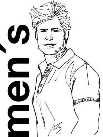 manly: Sketch of handsome man face. Vector illustration. Illustration