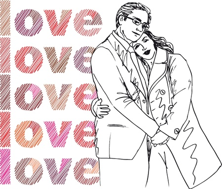 hot couple: Sketch of couple. Vector illustration.