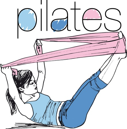 Sketch of pilates woman rubber resistance band fitness sport gym. Vector illustration.