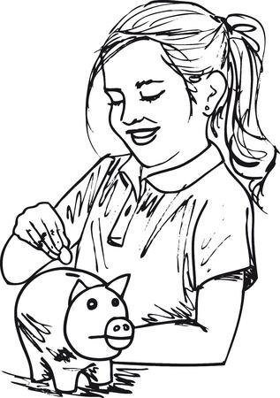 Sketch of cute little girl with piggybank, Vector illustration. Stock Vector - 11857711