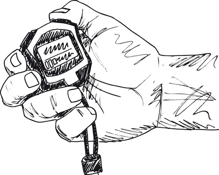 second hand: Sketch of Male hand holding a stopwatch. Vector illustration.