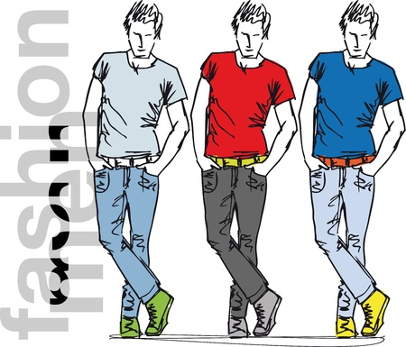 tee shirt: Sketch of fashion handsome men. Vector illustration