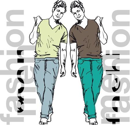 moda casual: Sketch de los hombres de moda hermosos. Ilustraci�n vectorial