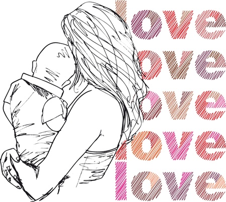 mom son: Sketch of Mom & baby. vector illustration