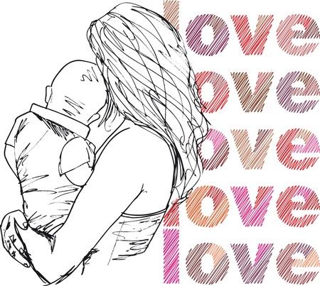 Sketch of Mom & baby. vector illustration