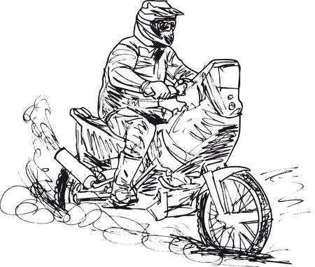 showoff: Sketch of motocross bike increase speed in track. Vector illustration